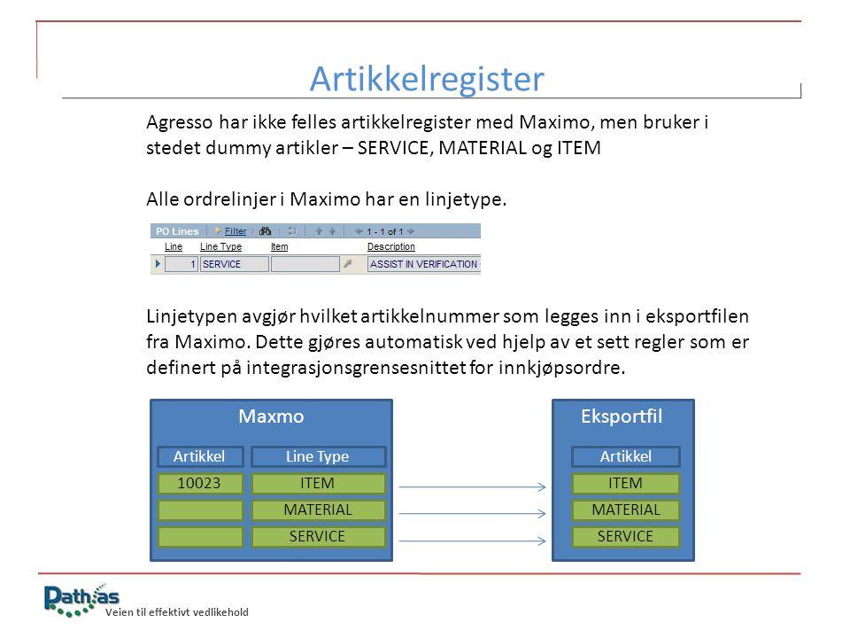 Veien til effektivt vedlikehold Agresso har ikke felles artikkelregister med Maximo, men bruker i stedet dummy artikler – SERVICE, MATERIAL og ITEM Al
