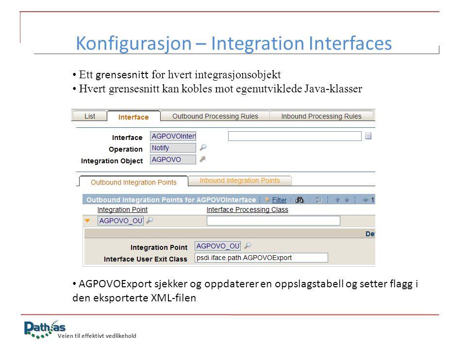 Veien til effektivt vedlikehold • Ett grensesnitt for hvert integrasjonsobjekt • Hvert grensesnitt kan kobles mot egenutviklede Java-klasser • AGPOVOE