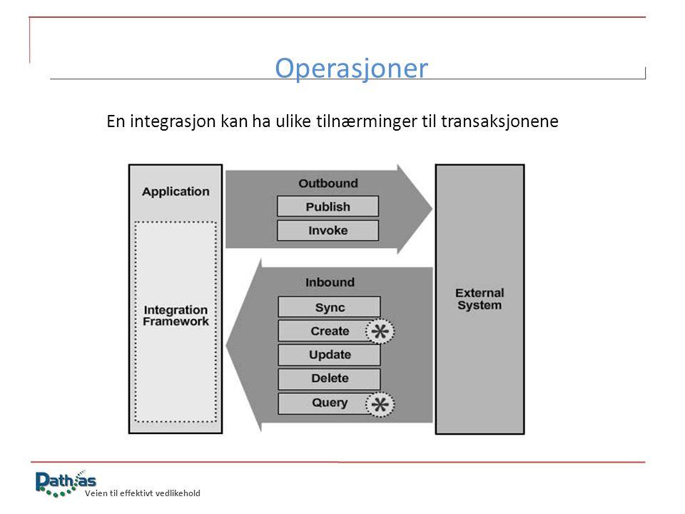 Veien til effektivt vedlikehold Operasjoner En integrasjon kan ha ulike tilnærminger til transaksjonene