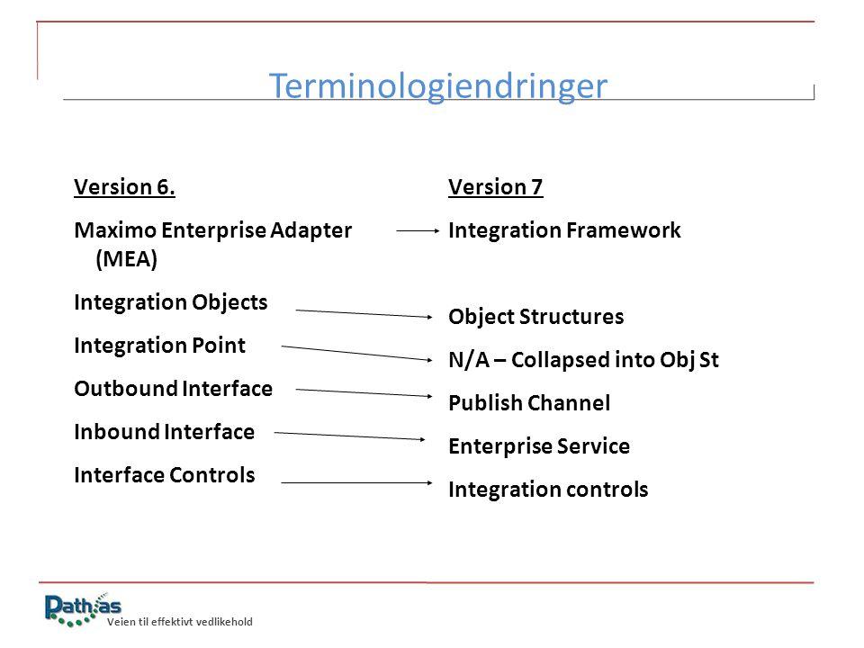 Veien til effektivt vedlikehold Terminologiendringer Version 6. Maximo Enterprise Adapter (MEA) Integration Objects Integration Point Outbound Interfa