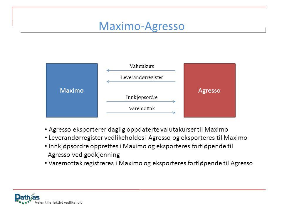Veien til effektivt vedlikehold Maximo-Agresso MaximoAgresso Valutakurs Leverandørregister Innkjøpsordre Varemottak • Agresso eksporterer daglig oppda