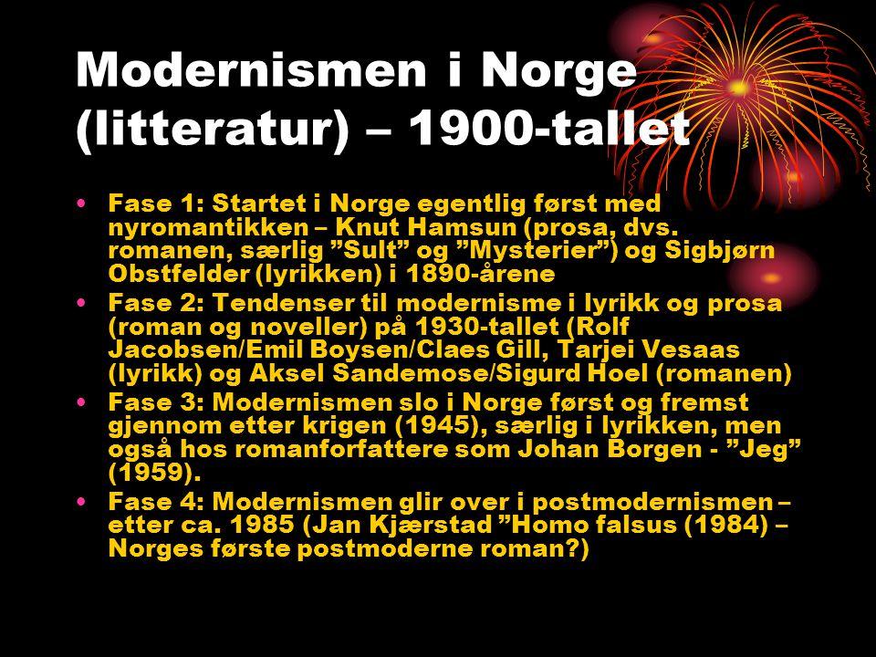 Modernismens mange navn (kilde Dikt i Norge (2002) av Ivar Havnevik) •Premodernisme (1890-tall) •Førkrigsmodernisme (Rolf Jacobsen) •Etterkrigsmodernisme (1945-1960) •60-tallsmodernisme (nykritikk, strukturalisme – mange akademikere født like før krigen, grunnskolen i 40/50-åra) •a) Kritisk modernisme (Georg Johannesen) •b) Eksistensiell modernisme (Stein Mehren) •c) Hverdagsmodernisme (Kolbein Falkeid) •d) Fantasiens modernisme (Kate Næss) •e) Analytisk modernisme (Einar Økland/Kjell Heggelund) •f) Inkluderende og meditativ (tankefull) modernisme (Jan Erik Vold) •g) Følsomhetens modernisme (Paal-Helge Haugen) •h) Politisk og romantisk modernisme (Tor Obrestad) •i) Feministisk modernisme (Eldrid Lunden)