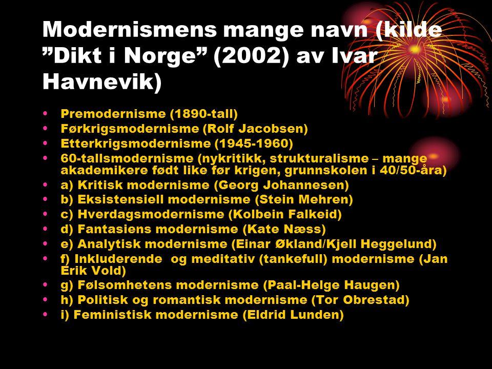"""Modernismens mange navn (kilde """"Dikt i Norge"""" (2002) av Ivar Havnevik) •Premodernisme (1890-tall) •Førkrigsmodernisme (Rolf Jacobsen) •Etterkrigsmoder"""