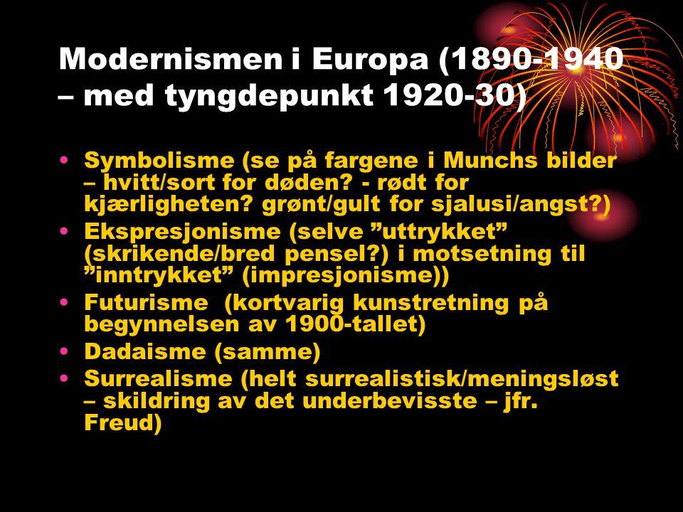 Modernismen i Europa (1890-1940 – med tyngdepunkt 1920-30) •Symbolisme (se på fargene i Munchs bilder – hvitt/sort for døden? - rødt for kjærligheten?