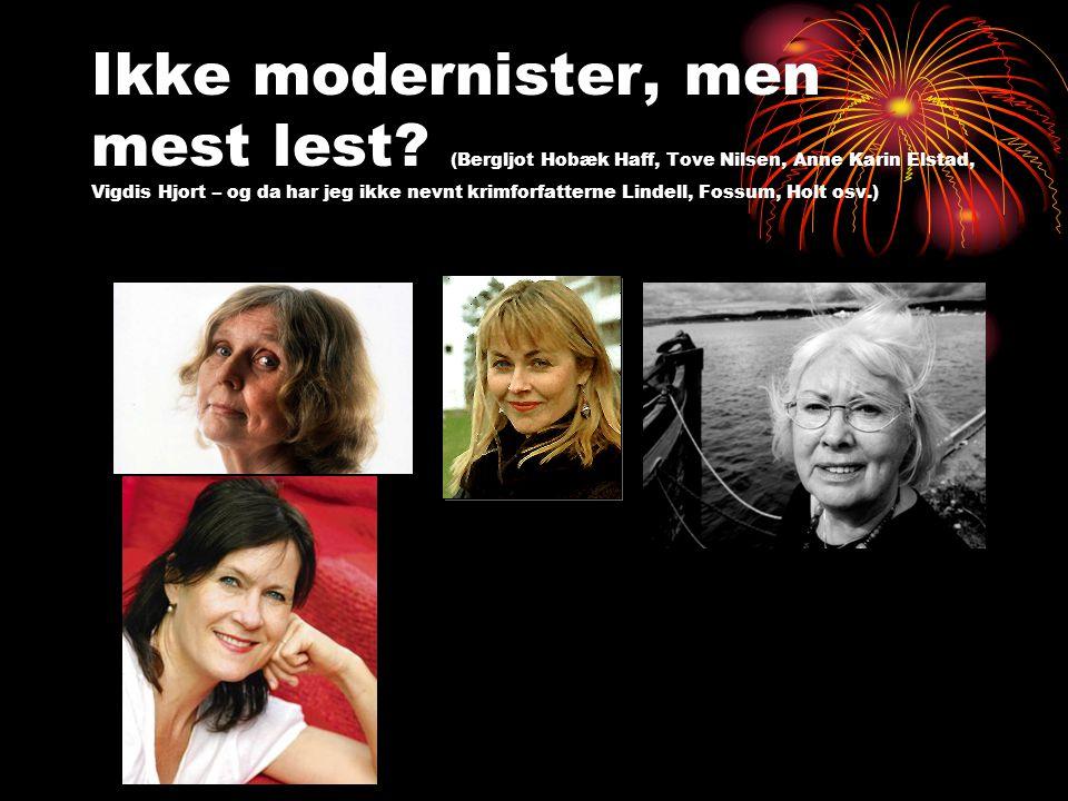 Ikke modernister, men mest lest? (Bergljot Hobæk Haff, Tove Nilsen, Anne Karin Elstad, Vigdis Hjort – og da har jeg ikke nevnt krimforfatterne Lindell