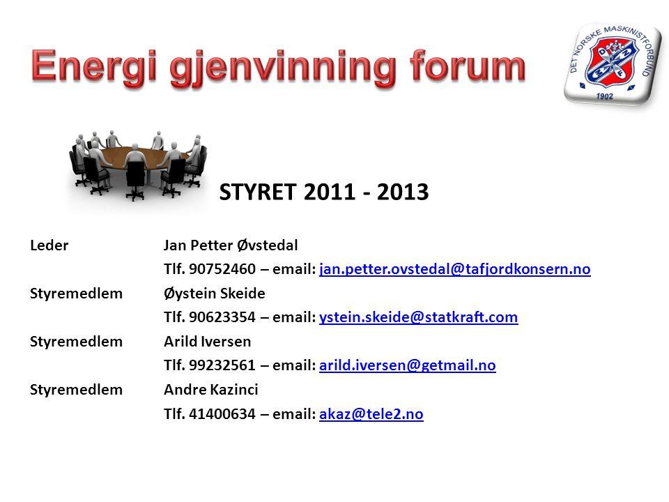 STYRET 2011 - 2013 Leder Jan Petter Øvstedal Tlf. 90752460 – email: jan.petter.ovstedal@tafjordkonsern.nojan.petter.ovstedal@tafjordkonsern.no Styreme