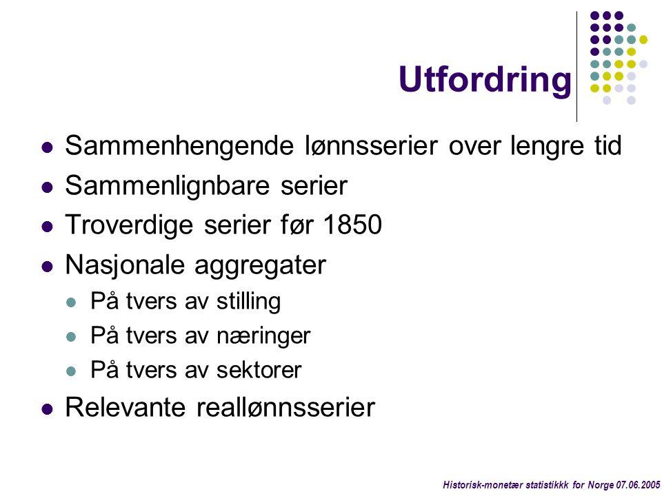 Årlige vekstrater Første til siste år Log-lineær y = ß 0 e ß 1 t Industri 1.71% (19.32) 1.71% Sjøfart (utenriks) 1.80% (22.66) 1.99% BNP per innbygger 1.99% (31.68) 2.02% Historisk-monetær statistikkk for Norge 07.06.2005