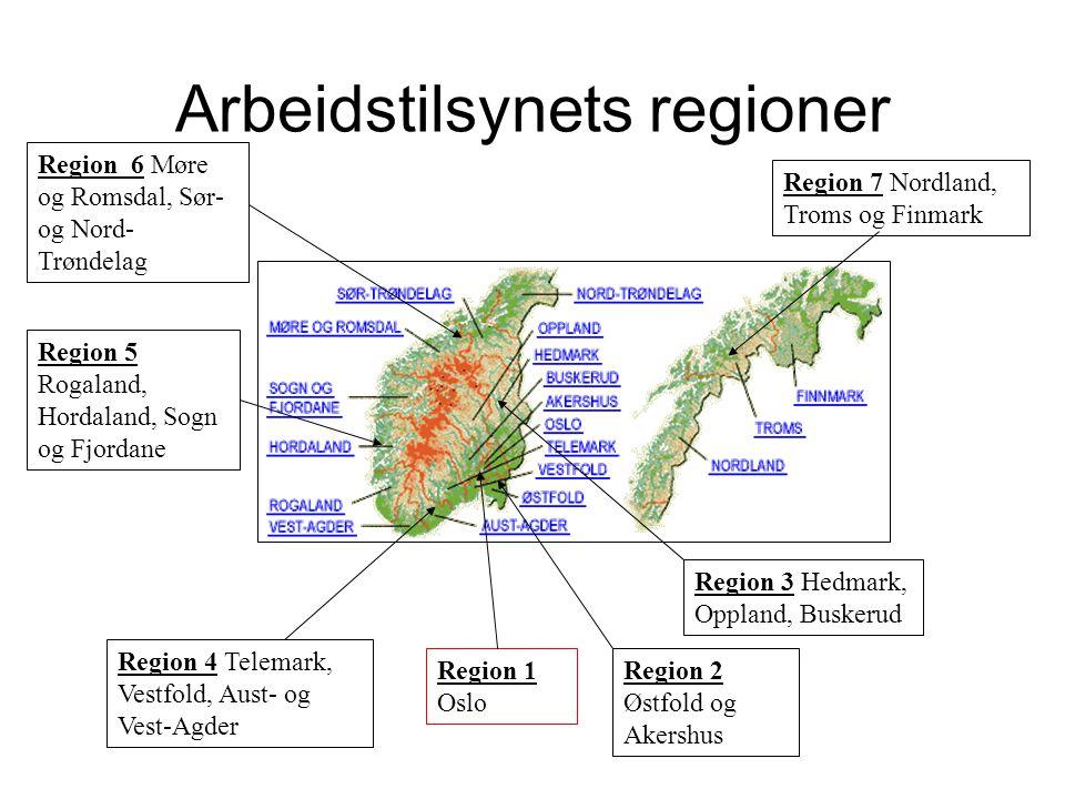 Arbeidstilsynets regioner Region 7 Nordland, Troms og Finmark Region 6 Møre og Romsdal, Sør- og Nord- Trøndelag Region 5 Rogaland, Hordaland, Sogn og