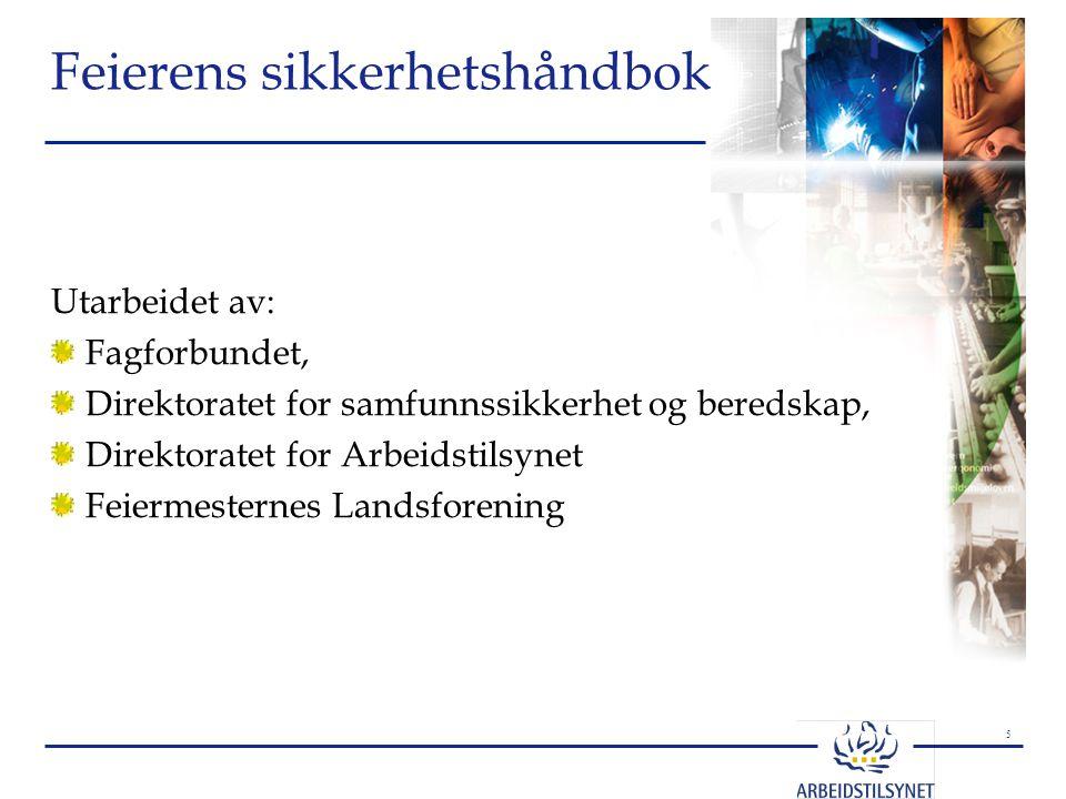 5 Feierens sikkerhetshåndbok Utarbeidet av: Fagforbundet, Direktoratet for samfunnssikkerhet og beredskap, Direktoratet for Arbeidstilsynet Feiermeste