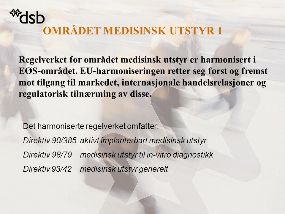 OMRÅDET MEDISINSK UTSTYR 1 Regelverket for området medisinsk utstyr er harmonisert i EØS-området.