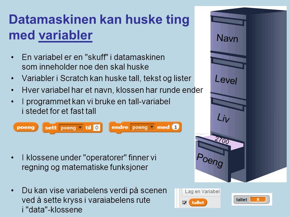 Poeng 2700 Liv Level Navn Datamaskinen kan huske ting med variabler •En variabel er en