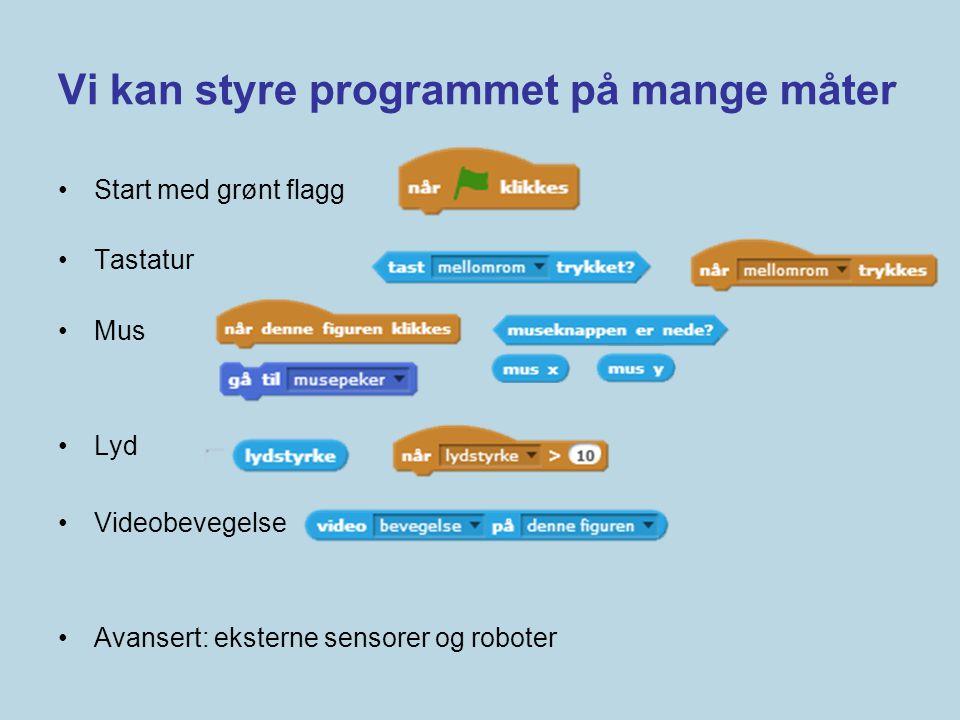 Vi kan styre programmet på mange måter •Start med grønt flagg •Tastatur •Mus •Lyd •Videobevegelse •Avansert: eksterne sensorer og roboter