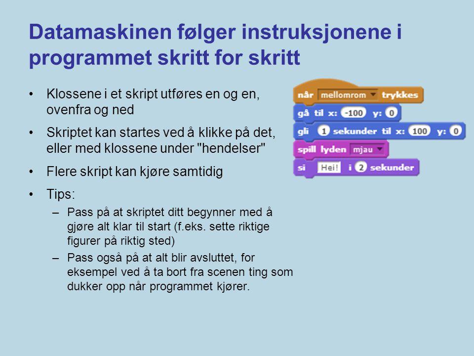 Datamaskinen følger instruksjonene i programmet skritt for skritt •Klossene i et skript utføres en og en, ovenfra og ned •Skriptet kan startes ved å k