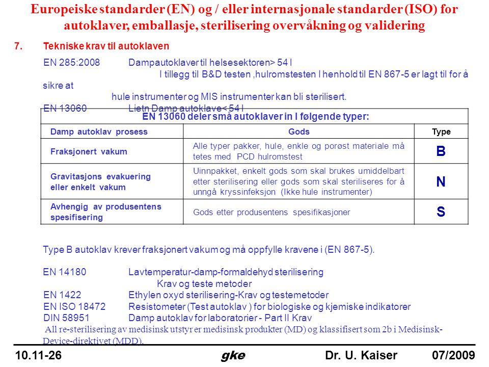 7.Tekniske krav til autoklaven EN 285:2008 Dampautoklaver til helsesektoren> 54 l I tillegg til B&D testen,hulromstesten I henhold til EN 867-5 er lag