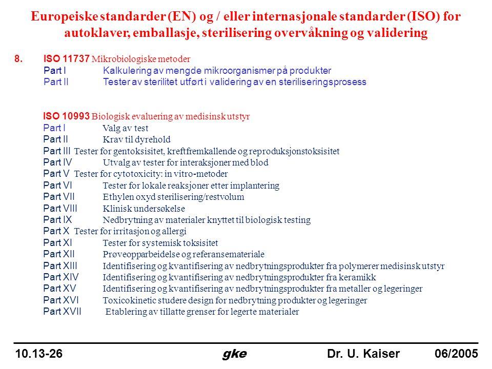8. ISO 11737 Mikrobiologiske metoder Part I Kalkulering av mengde mikroorganismer på produkter Part II Tester av sterilitet utført i validering av en