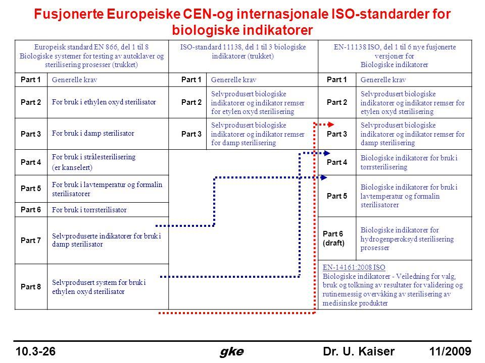 Fusjonerte Europeiske CEN-og internasjonale ISO-standarder for biologiske indikatorer Europeisk standard EN 866, del 1 til 8 Biologiske systemer for t
