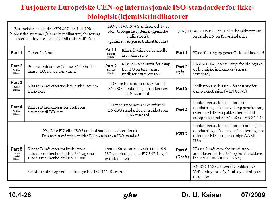 Fusjonerte Europeiske CEN-og internasjonale ISO-standarder for ikke- biologisk (kjemisk) indikatorer Europeiske standardene EN 867, del 1 til 5 Non- b