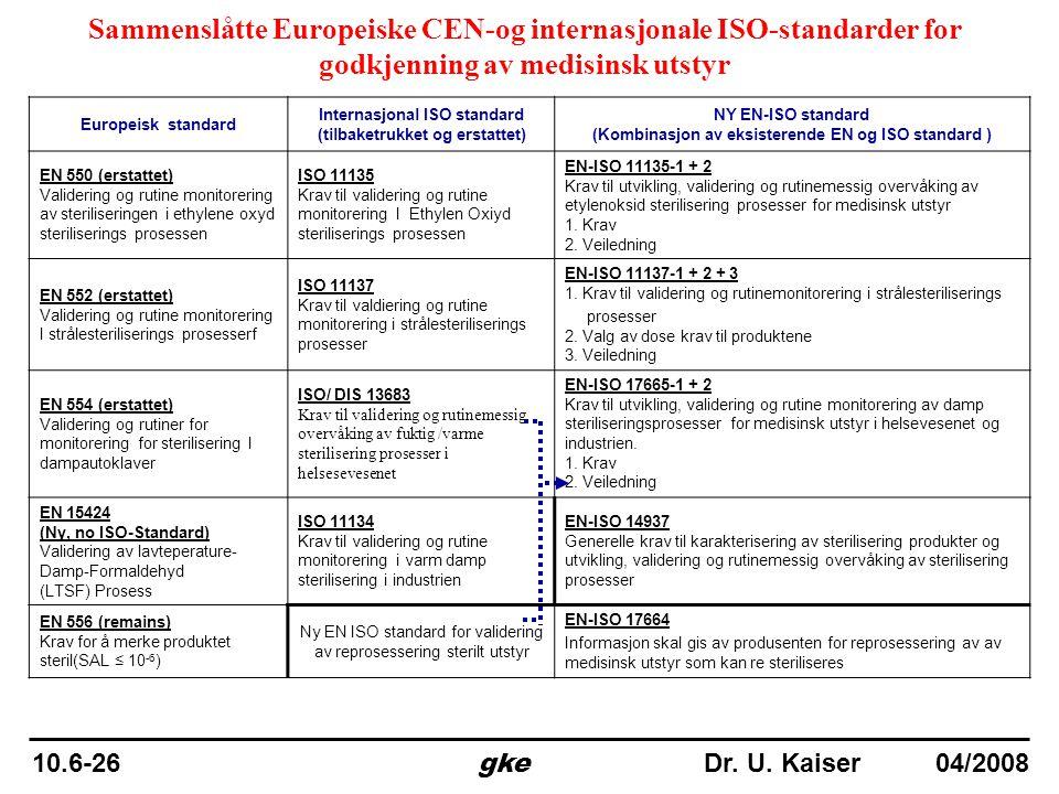 Sammenslåtte Europeiske CEN-og internasjonale ISO-standarder for godkjenning av medisinsk utstyr Europeisk standard Internasjonal ISO standard (tilbak