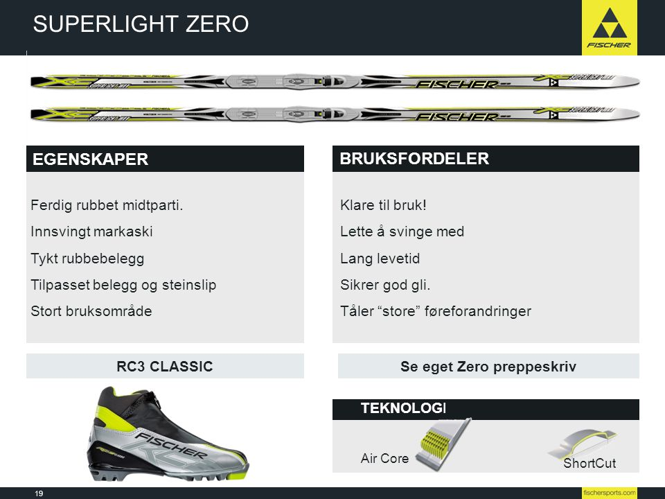19 Line-up 08l09 // Nordic // Ski // Racing TEKNOLOGI BRUKSFORDELER EGENSKAPER RC3 CLASSIC BRUKSFORDELER Air Core ShortCut SUPERLIGHT ZERO Ferdig rubb