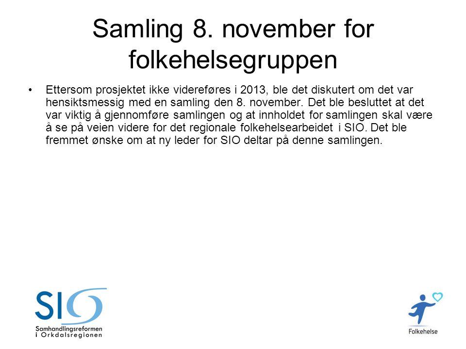 Samling 8. november for folkehelsegruppen •Ettersom prosjektet ikke videreføres i 2013, ble det diskutert om det var hensiktsmessig med en samling den
