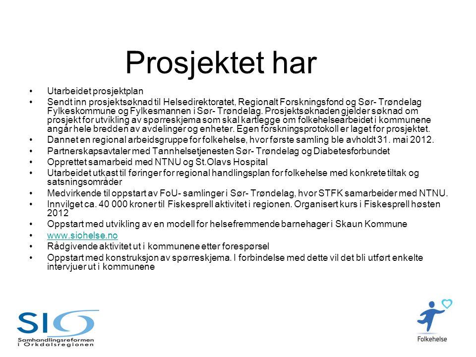 Prosjektet har •Utarbeidet prosjektplan •Sendt inn prosjektsøknad til Helsedirektoratet, Regionalt Forskningsfond og Sør- Trøndelag Fylkeskommune og F