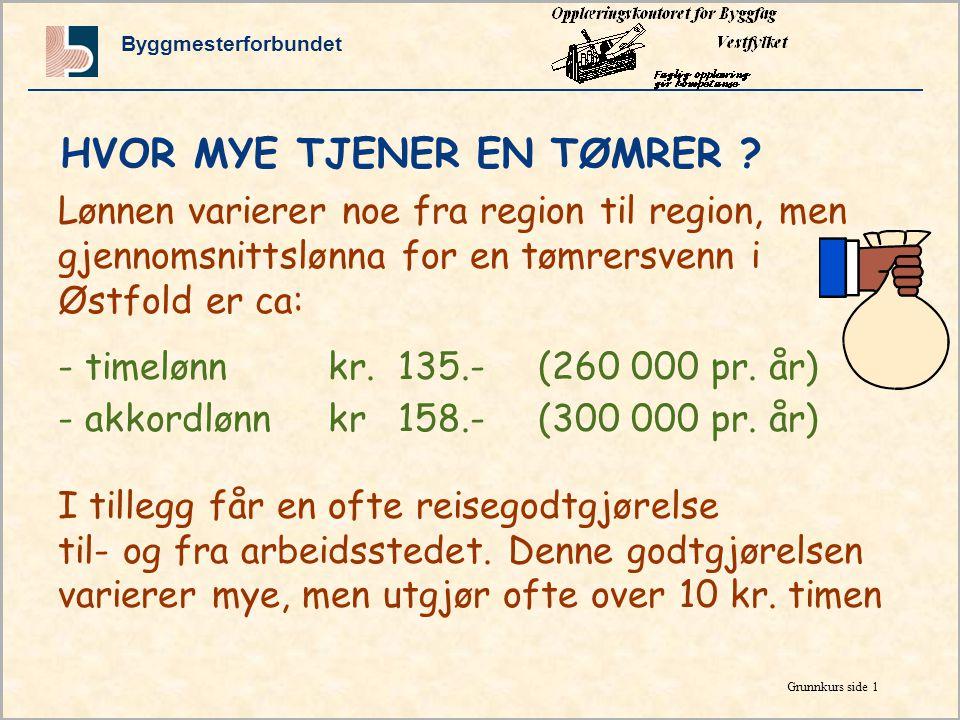 Byggmesterforbundet Grunnkurs side 1 Lønnen varierer noe fra region til region, men gjennomsnittslønna for en tømrersvenn i Østfold er ca: - timelønnkr.135.-(260 000 pr.