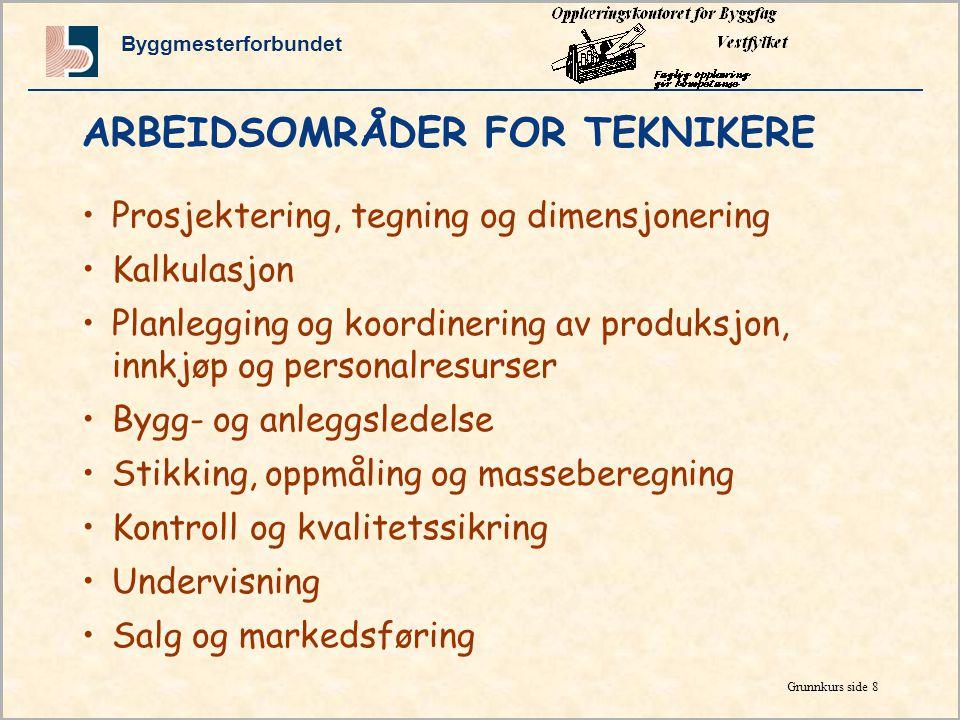 Byggmesterforbundet Grunnkurs side 7 RELEVANTE JOBBER FOR TEKNIKERE •Byggeleder •Byggeplassleder •Landmåler •Planlegger •Driftsansvarlig for bygninger