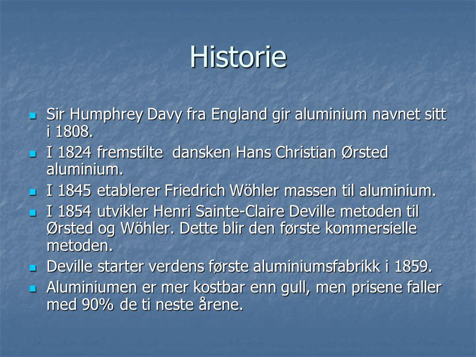 Historie  Sir Humphrey Davy fra England gir aluminium navnet sitt i 1808.  I 1824 fremstilte dansken Hans Christian Ørsted aluminium.  I 1845 etabl