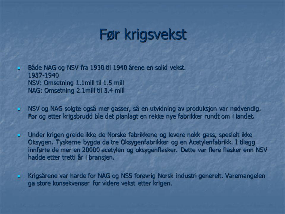 Før krigsvekst  Både NAG og NSV fra 1930 til 1940 årene en solid vekst. 1937-1940 NSV: Omsetning 1.1mill til 1.5 mill NAG: Omsetning 2.1mill til 3.4