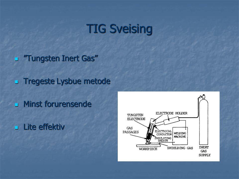""" """"Tungsten Inert Gas""""  Tregeste Lysbue metode  Minst forurensende  Lite effektiv"""