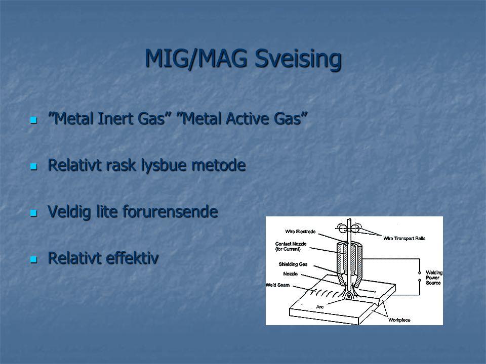 """ """"Metal Inert Gas"""" """"Metal Active Gas""""  Relativt rask lysbue metode  Veldig lite forurensende  Relativt effektiv"""