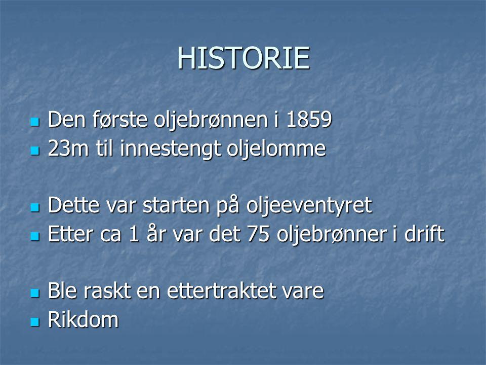 HISTORIE  Den første oljebrønnen i 1859  23m til innestengt oljelomme  Dette var starten på oljeeventyret  Etter ca 1 år var det 75 oljebrønner i