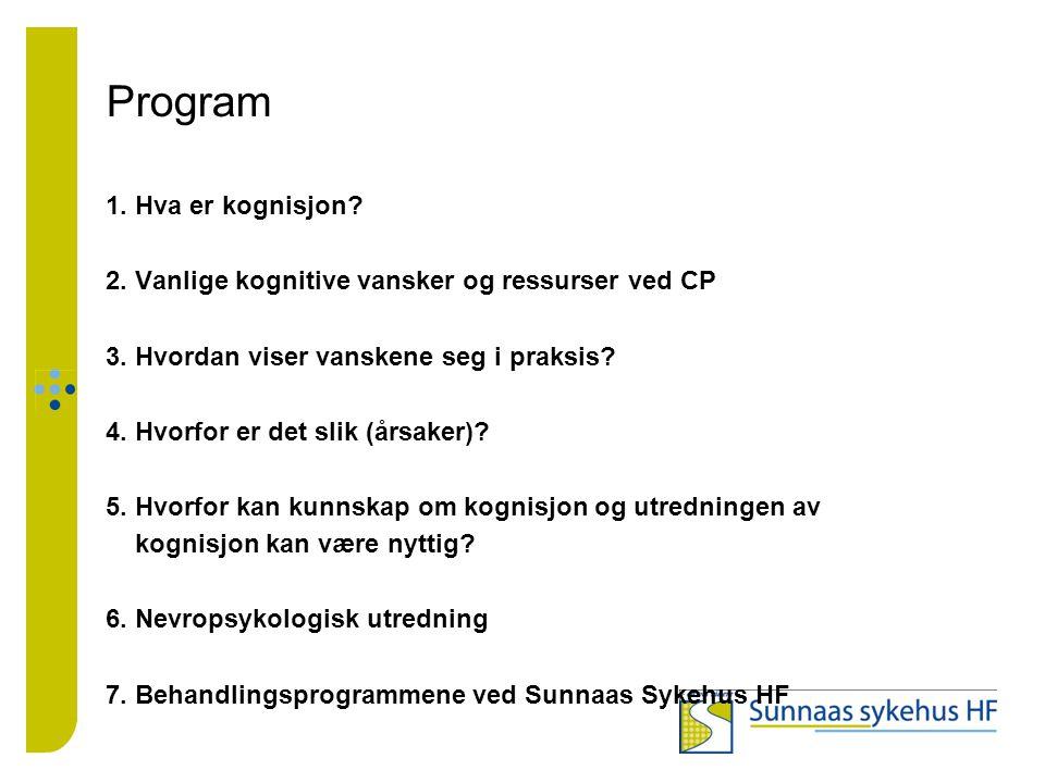 Program 1. Hva er kognisjon? 2. Vanlige kognitive vansker og ressurser ved CP 3. Hvordan viser vanskene seg i praksis? 4. Hvorfor er det slik (årsaker