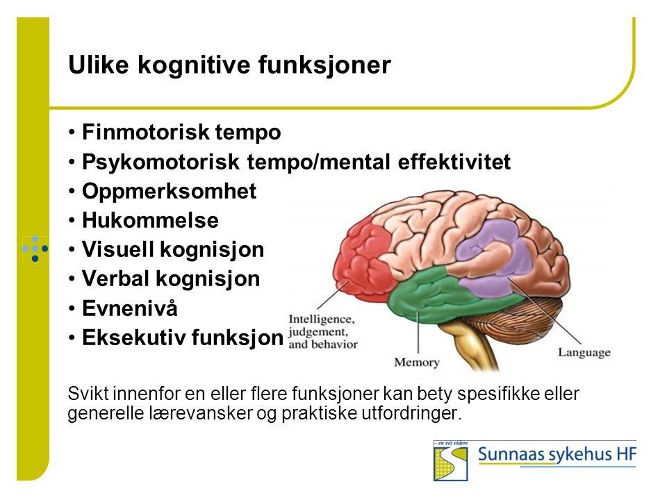 Ulike kognitive funksjoner • Finmotorisk tempo • Psykomotorisk tempo/mental effektivitet • Oppmerksomhet • Hukommelse • Visuell kognisjon • Verbal kog