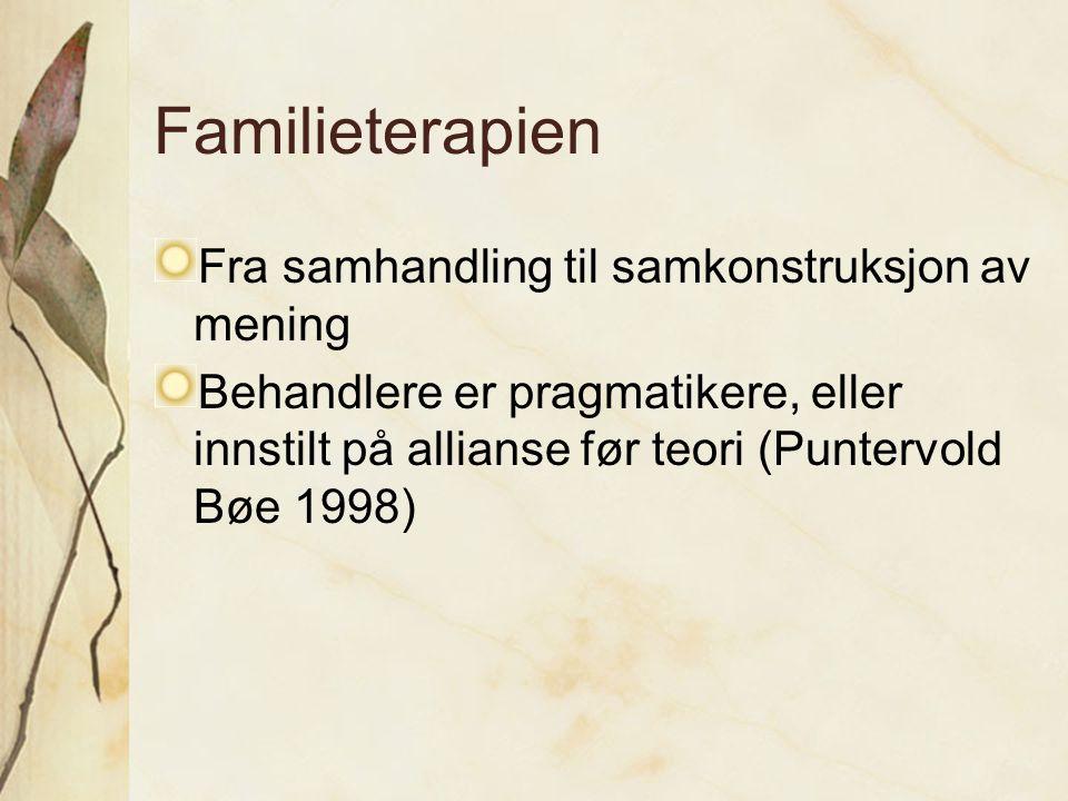 Familieterapien Fra samhandling til samkonstruksjon av mening Behandlere er pragmatikere, eller innstilt på allianse før teori (Puntervold Bøe 1998)