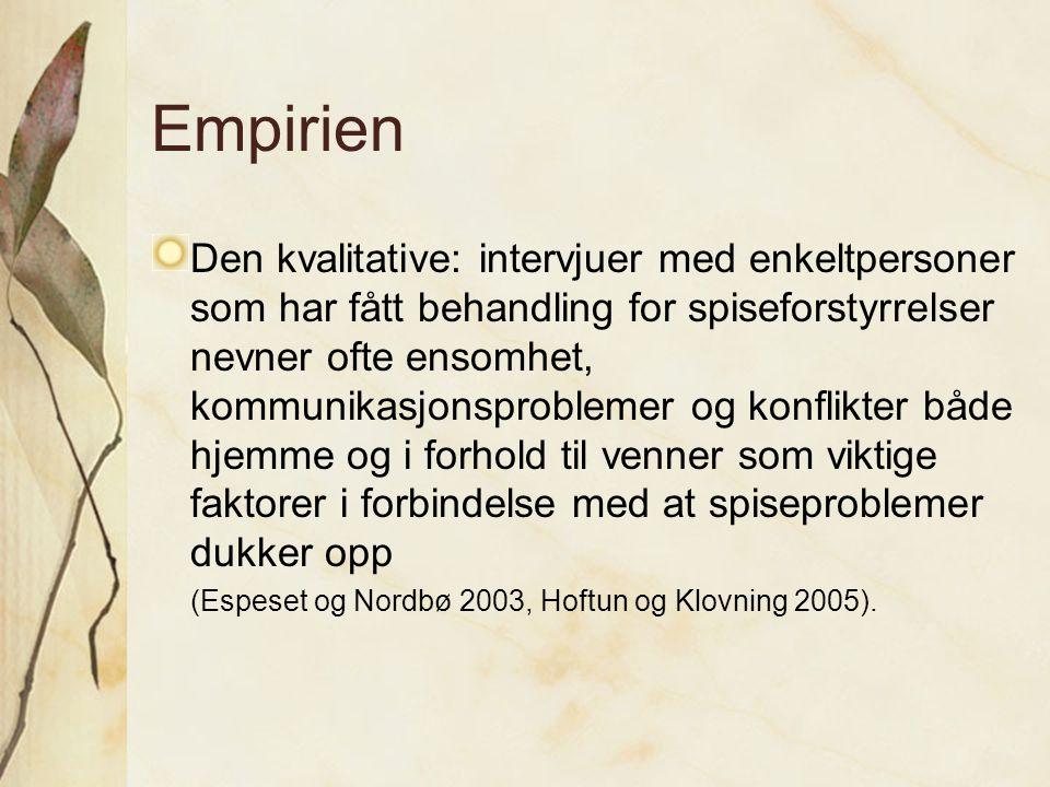 Empirien Den kvalitative: intervjuer med enkeltpersoner som har fått behandling for spiseforstyrrelser nevner ofte ensomhet, kommunikasjonsproblemer o