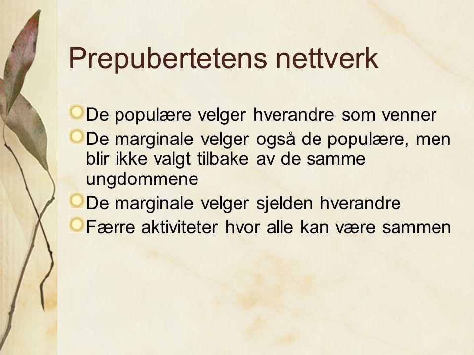 Prepubertetens nettverk De populære velger hverandre som venner De marginale velger også de populære, men blir ikke valgt tilbake av de samme ungdomme