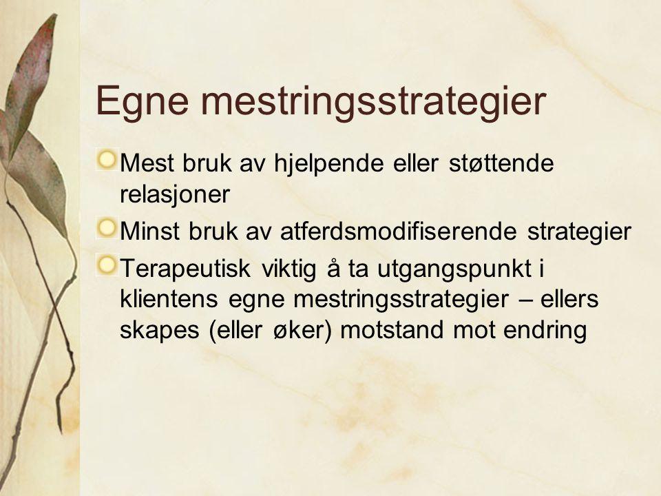 Egne mestringsstrategier Mest bruk av hjelpende eller støttende relasjoner Minst bruk av atferdsmodifiserende strategier Terapeutisk viktig å ta utgan