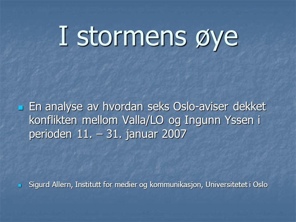 I stormens øye  En analyse av hvordan seks Oslo-aviser dekket konflikten mellom Valla/LO og Ingunn Yssen i perioden 11.