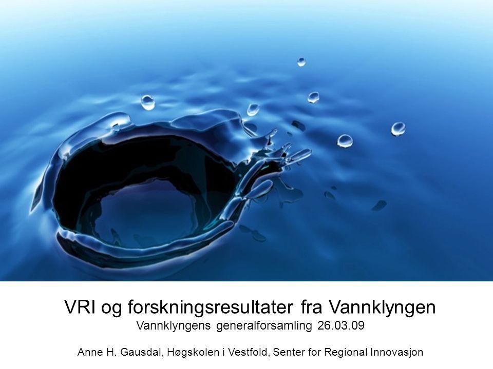 1 VRI og forskningsresultater fra Vannklyngen Vannklyngens generalforsamling 26.03.09 Anne H. Gausdal, Høgskolen i Vestfold, Senter for Regional Innov