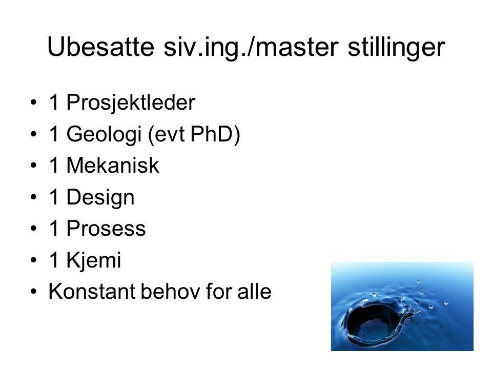 Ubesatte siv.ing./master stillinger •1 Prosjektleder •1 Geologi (evt PhD) •1 Mekanisk •1 Design •1 Prosess •1 Kjemi •Konstant behov for alle