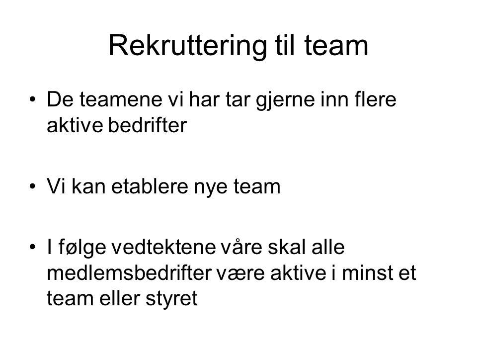 Rekruttering til team •De teamene vi har tar gjerne inn flere aktive bedrifter •Vi kan etablere nye team •I følge vedtektene våre skal alle medlemsbed