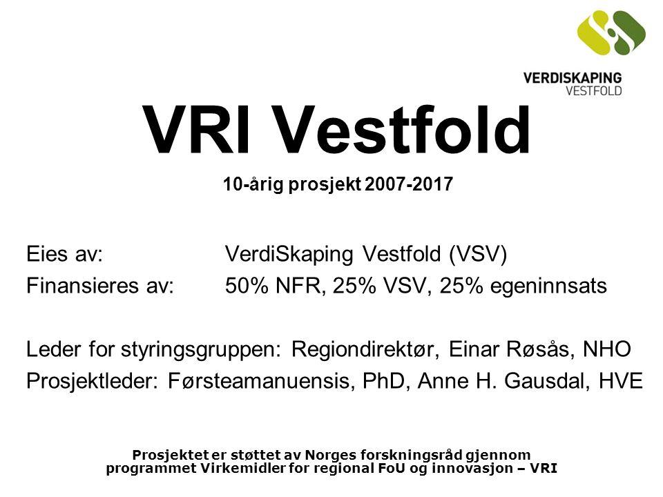 VRI Vestfold 10-årig prosjekt 2007-2017 Eies av: VerdiSkaping Vestfold (VSV) Finansieres av:50% NFR, 25% VSV, 25% egeninnsats Leder for styringsgruppen:Regiondirektør, Einar Røsås, NHO Prosjektleder: Førsteamanuensis, PhD, Anne H.