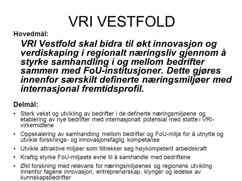 VRI VESTFOLD Hovedmål: VRI Vestfold skal bidra til økt innovasjon og verdiskaping i regionalt næringsliv gjennom å styrke samhandling i og mellom bedrifter sammen med FoU-institusjoner.