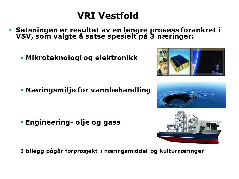 VRI Vestfold  Satsningen er resultat av en lengre prosess forankret i VSV, som valgte å satse spesielt på 3 næringer:  Mikroteknologi og elektronikk  Næringsmiljø for vannbehandling  Engineering- olje og gass I tillegg pågår forprosjekt i næringsmiddel og kulturnæringerr