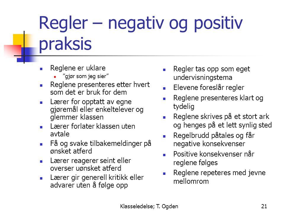 """Klasseledelse; T. Ogden21 Regler – negativ og positiv praksis  Reglene er uklare  """"gjør som jeg sier""""  Reglene presenteres etter hvert som det er b"""