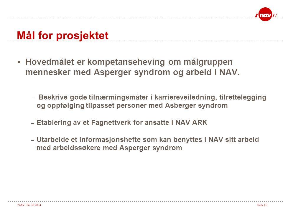 NAV, 24.06.2014Side 10 Mål for prosjektet  Hovedmålet er kompetanseheving om målgruppen mennesker med Asperger syndrom og arbeid i NAV. – Beskrive go
