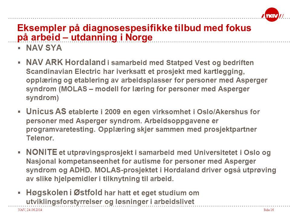 NAV, 24.06.2014Side 16 Eksempler på diagnosespesifikke tilbud med fokus på arbeid – utdanning i Norge  NAV SYA  NAV ARK Hordaland i samarbeid med St