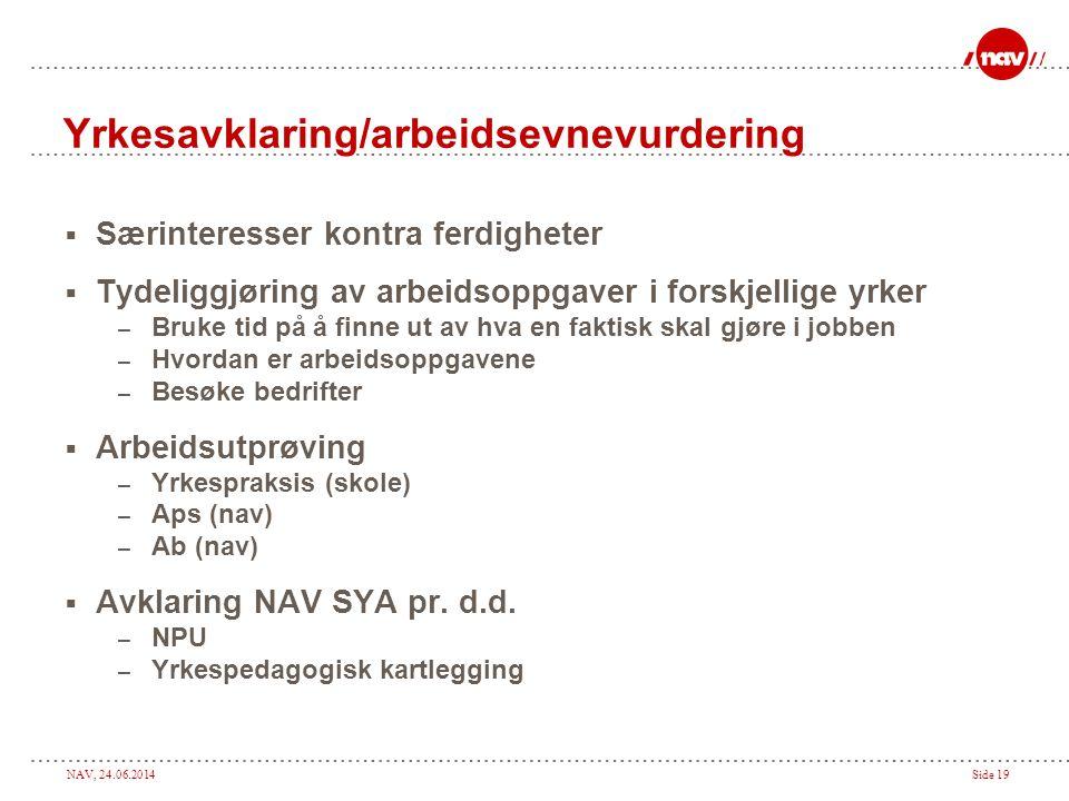 NAV, 24.06.2014Side 19 Yrkesavklaring/arbeidsevnevurdering  Særinteresser kontra ferdigheter  Tydeliggjøring av arbeidsoppgaver i forskjellige yrker
