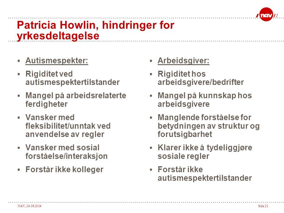 NAV, 24.06.2014Side 21 Patricia Howlin, hindringer for yrkesdeltagelse  Autismespekter:  Rigiditet ved autismespektertilstander  Mangel på arbeidsr